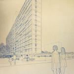 Edifício Ubirama, perspectiva, São Paulo SP. Abrahão Sanovicz, 1969. Acervo FAU USP